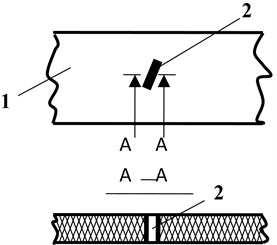 Sheet of flock printing material with defect – tear:  1 – sheet of flock printing material, 2 – defect – tear