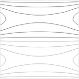 Contour plots of the transverse displacement for the upper plane for the a) first eigenmode, b) second eigenmode, …, j) tenth eigenmode when a= 0 m