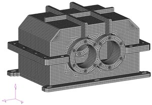 The modified models of gear housing: a) geometrical, b) numerical