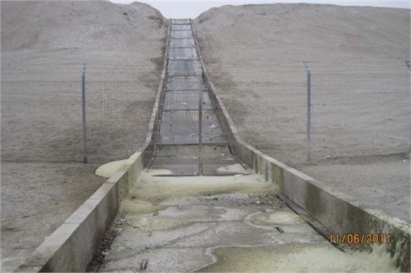 Original open channel outfall at Angamos power plant