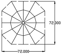 The plain and elevation of non-fully symmetric Geiger cable dome (m)