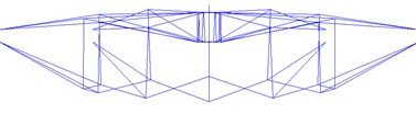 Mode of vibration of the cable-strut-beam model