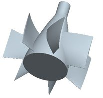 Three dimensional model: a) impeller, b) guide vane