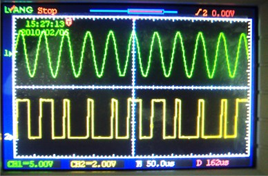Comparative study about ultrasonic electrical signal and synchronising pulse