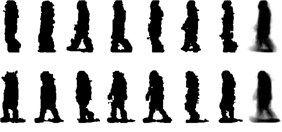 Some original binary images and the average silhouette images  of two different individuals in the USF HumanID gait database