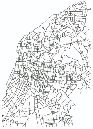 Nanjing traffic network (the right figure is one enlarged area)