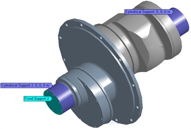 The loads acting on crankshaft under α1= 300°