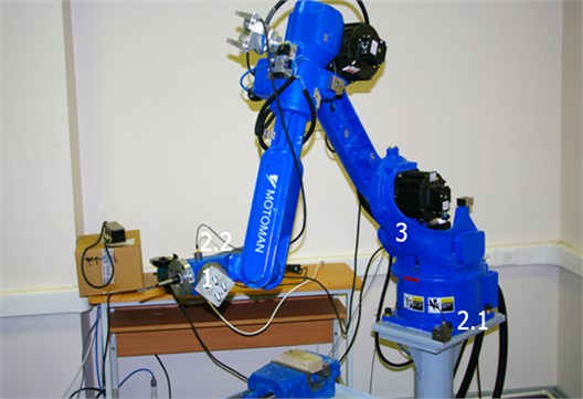 Investigation of mechanical vibrations: 1 – attached weight, 2 – accelerometers, 3 – robot
