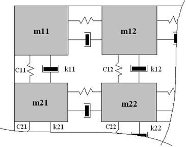 The dynamic model of the cracked specimen:  here m11 – mij – masses of specimen's separate zones,  c11 – cij, k11 – kij – rigidity and damping coefficients