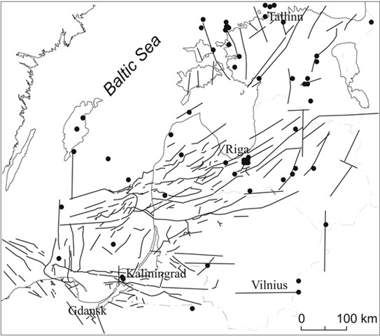 Major faults defined in the sedimentary cover of the Baltic sedimentary basin  and documented earthquake epicentres (according to [1] with some modifications)