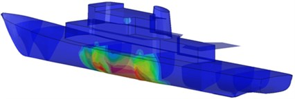 Distribution of shock wave on the hull coming from the TNT load explosion