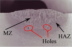 Optical cross-section micrographs of welds: a), b), c) welding regimes 3-3, 6-6 and 8-8 respectively of two separate weldments; d), e), f) welding regimes 3-3, 6-6 and 8-8 respectively of welding on grooves