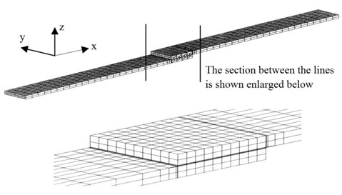 Original FEA mesh of the adhesively bonded single-lap joint