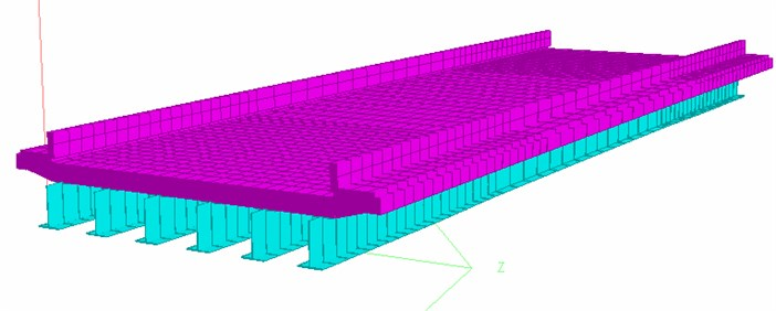 Finite element model of bridge deck