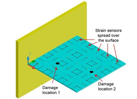A quadrate thin cantilever plate  (1000×1000×10 mm, E= 19.5×1010 N/m2, ρ= 7850 kg/m3, μ= 0.3)
