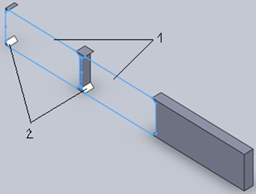 Arrangement of the part outlines in the metal strip: 1 – detail, 2 – waste of material