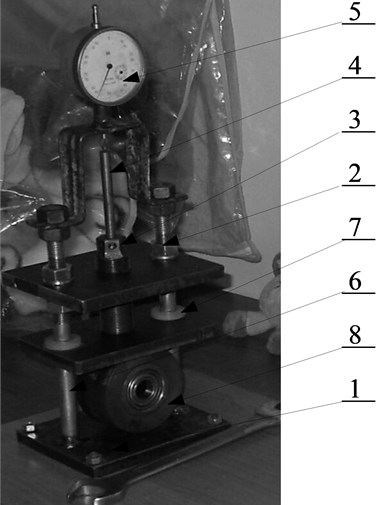 Test stand: 1 – Lower frame; 2 – Upper frame; 3 – Press bolt; 4 – Manometer pusher; 5 – Dial indicator; 6 – Guide; 7 – Slide bearing; 8 – Roller with a polyurethane band