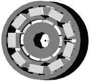 a) 2D cross-section of the permanent magnet synchronous machine, b) 3D cross-section of the permanent magnet synchronous machine