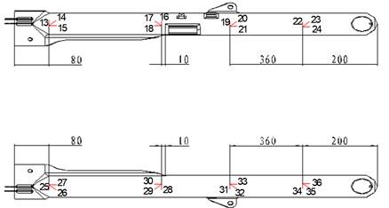 a) gauges on the strut, b) gauges on the rotating shaft, c) gauges on the rocker arm