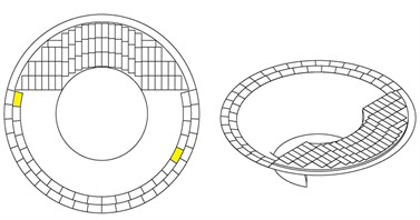 Available places for locating the actuators:  a) without and b) with considering symmetric shape of the throat