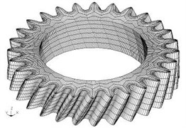 Gear element generation: a) model of helical gear applying tip relief and crowning modifications,  b) six blocks divided quadrilaterally, c) nodal distribution