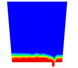 Simulation results at the moment of slag outflowing:  a) contours of the volume fraction, b) path lines