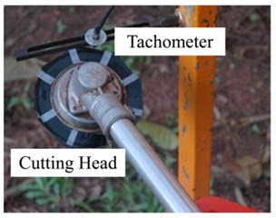 Exhaust noise measurement: a) measurement set up,  b) the tachometer mounted on the top of cutting head,  c) the muffler with MPP mount on the engine