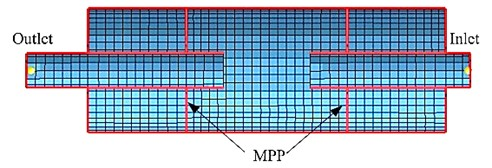 The meshing model for simple expansion chamber muffler: a) without the MPP or b) with the MPP