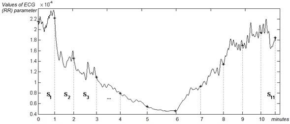 The segmentation of an ECG signal into k non-overlapping contiguous segments