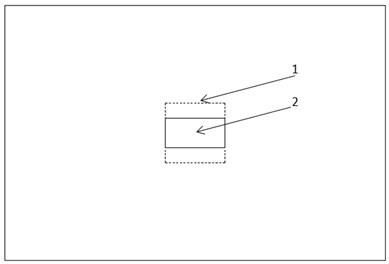 Plan of the source room: 1 – marked rectangular; 2 – test specimen