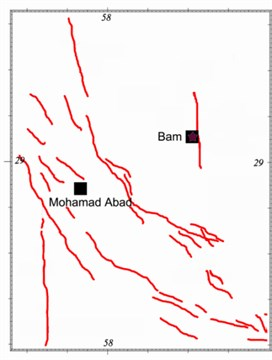 Plans showing the selected stations, Bam and Mohamad Abad, and estimated Bam fault alignment resulted from this study and those of the others