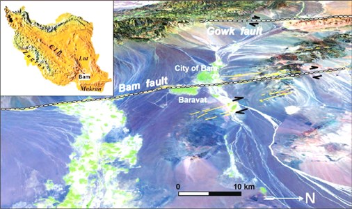 Perspective views from east to the central part of Bam fault system [42]