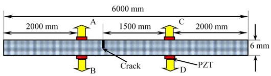 Schematic diagram of finite element simulation model