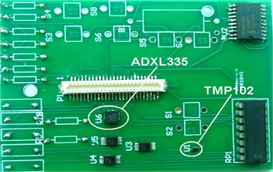 a) Front of the extension sensor board, b) back of the extension sensor board