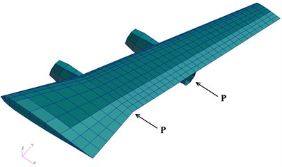 Model of a wing carrying two engines