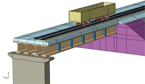 Bridge-subgrade zone model under moving vehicle