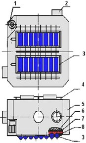 Fixing devices for cylindrical capacitors a), flat insulating components b):  1, 2, 4 – base elements, 3 – condensers, 5 – body, 6 – metal plate, 7 – isolator, 8 – ER glue