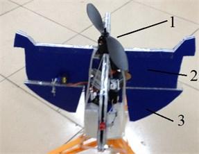 Photo of inner flying device 1 – the propeller and the brushless motor; 2 – bracket framework; 3 – control rudders