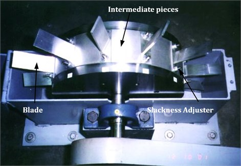 Photograph showing test rig with blade assembly and intermediate locking pieces
