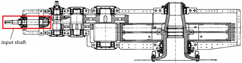 Cross section of gear reduction on SRs2000 bucket wheel excavator with marked position of shaft