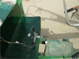 Accelerometers mounting positions: a) handle grip, b) trailer seat, c) operator's wrist,  d) operator's arm, e) operator's chest, and f) operator's head