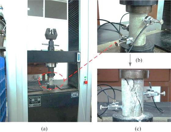 Rock compression experiment:  a) experimental setup, b) AE sensors arrangement, c) after the destruction of the rock