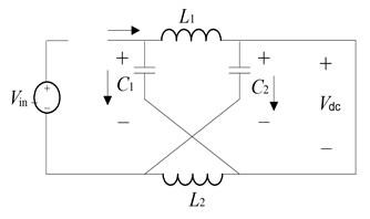 Equivalent circuit of Z-source DC/DC converter: a) equivalent circuit of inverter,  when shoot-through state, b) equivalent circuit of inverter, when non-shoot-through state