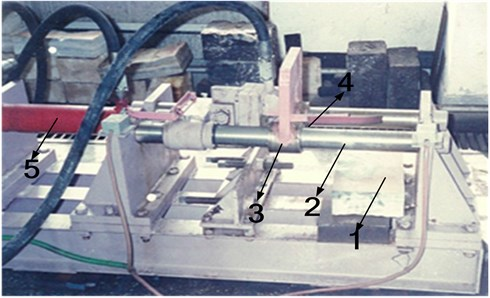 Linear cutting test bed  (1 – rock specimen, 2 – guide rail, 3 – pick holding device, 4 – pick, 5 – thrust oil cylinder)