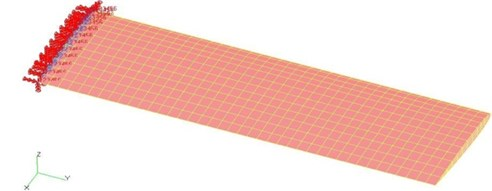The finite element model of straight wing