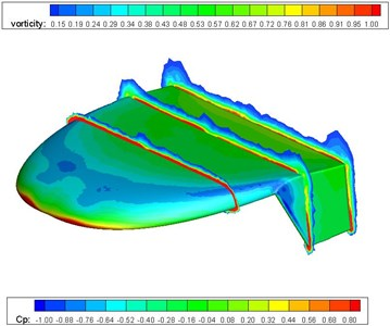 Pressure and vortex cloud pictures of the flying wing MAV