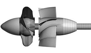 Computational mesh of model pump