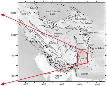 a) Location of the selected stations namely St-1, St-2, St-3,  and St-4 near the Gowk fault alignment and b) the active faults of Iran