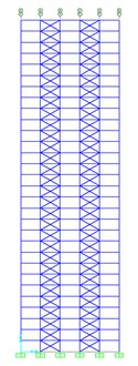3D elevation, plan and section of the studied 30-story dual system steel structure