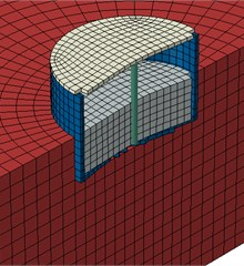 Meshed model of tank in ABAQUS software